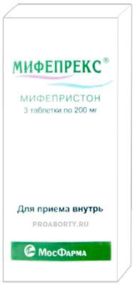 Упаковка препарата Мифепрекс