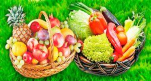 Фрукты и овощи в корзинках картинка