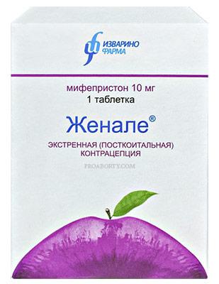Упаковка экстренных контрацептивов Женале